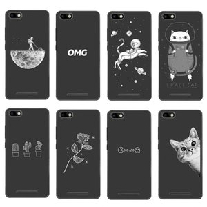 Caja linda del teléfono de los gatos del espacio de la historieta para Bq Bqs 4072 5020 5022 5035 5037 Cubierta blanca negra para Bq 5050 5058 5059 5070 X favorable