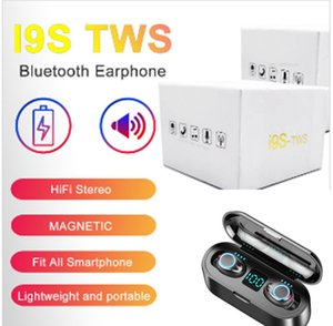 i9s tws wireless bluetooth headphones pop-up window ture stereo 5.0 Earbuds with magnetic charger case silicone protect case