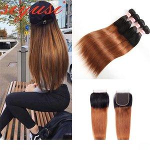 Ombre brasiliana capelli lisci Bundle con chiusura 1B 27 1B 30 Two Tone Ombre Capelli Weave 3 Bundle Con 4 * 4 chiusura del merletto