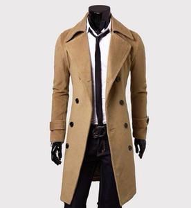 Homens de lã casaco de lã Marca New Qualidade Blends longo Overcoat Masculino Inverno Trench Pea Brasão Drop Shipping