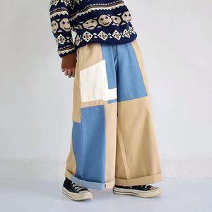 20SS Renk Bloğu Geniş Bacak Pantolon Erkekler ve Kadınlar Gevşek Casual Harajuku Pantolon Streetwear Fermuar Fly Oversize Düz Uzun Pantolon