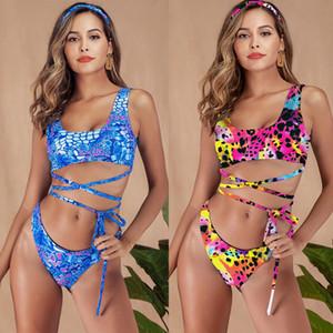 2019 Women Swimwear two Piece Swimsuit Female Bather Leopard Printed Bathing Suit Swim Lady bikini