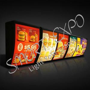 Restaurante menu Board Light Box Fast Food loja menu Indicação de montagem na parede com Protective Embalagem Caso de madeira (W40 x H50 cm)