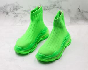 2020 Crystal Sole Triple S calcetín zapatillas de deporte zapatos de las señoras cargadores ocasionales de la vendimia del calcetín Botas Stretch Knit Slip-On mujeres calcetín botas de diseño