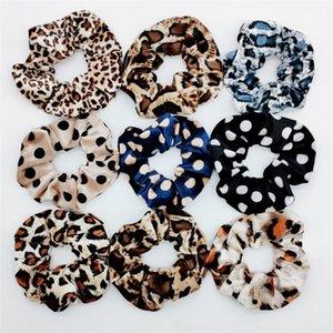 9 Color Retro leopard pattern spot hair circle Cloth art Hair ornaments Velvet Dots Elastic Ring Hair Ties Ponytail Hairbands T9I00244