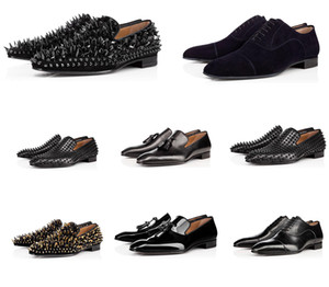 2020 couro de sapatos masculinos de insiders sapatos bicudos parte inferior vermelha de couro genuíno Stylist Sneakers Homens Spikes Plano Low Cut Suede Rivet Casual Shoes