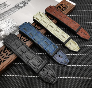25*19mm Crocodile pattern cow leather Rubber Watchband butterfly Buckle for Hublo strap for Big Ban belt Watch band logo on