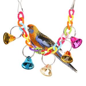 Acrílico Pet Bird Toys Chew Cage Colgando Escalera Columpio Ringer Bell Juguetes Para Parrot Cockatiel Perico Productos Para Mascotas