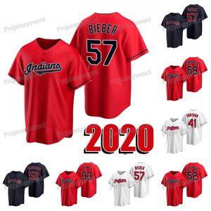 2020 Nouvelle saison 57 Shane Bieber Jersey 33 Brad Main 41 Carlos Santana 52 Mike Clevinger Carlos Carrasco des femmes des hommes jeunes Baseball Maillots