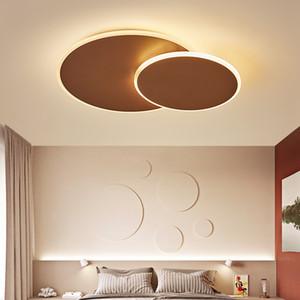 Rotonda fai da te Rotating principali moderne luci di soffitto per soggiorno da letto Study Room bianco / marrone colore del LED Lampada da soffitto Fixture