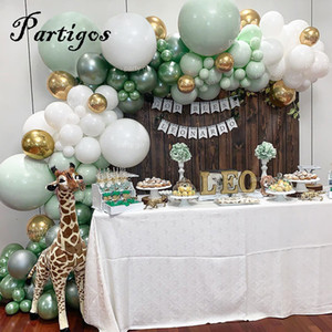 107 шт. Латексные воздушные шары джунглей вечеринка воздушный шар цепь Macaron зеленая белая гирлянда металла золотой воздушный шар рождения день рождения свадебный декор T200104