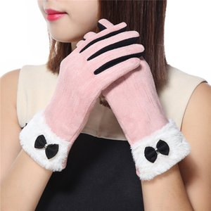 2019 Women Fashion Winter Solid Full Finger Hand Wrist Women Touch Screen Driving Gloves Outdoor Sport Warm Driving Faux Suede Gloves