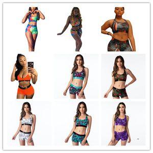Ethika Mulheres moda Swimsuit Top Curto vest + short da nadada Troncos Boxers 2 Piece Set Treino Patchwork tubarão Camo Biquini XXPD