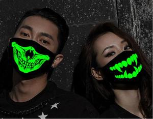 Donne Uomini Glow scuro Skull Scarey maschere nere Bocca metà volto costume cosplay Masquerade la mascherina del partito di Halloween delle decorazioni fai da te