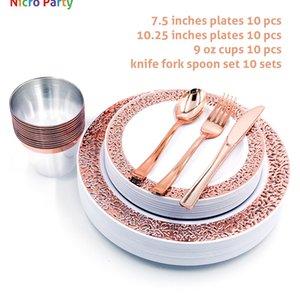 Nicro 10/20/50 PC / sistema Placas de oro rosa tazas plásticas Fork cuchillos cucharas desechables parte Juego de vajilla Claro jardín Vajilla Sets # DPT19