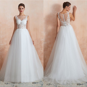 현대 보헤미안 웨딩 드레스 2020 레이스 아플리케 버튼 여름 신부 가운 스윕 기차 얇은 명주 그물 플러스 사이즈 보헤미안 웨딩 드레스