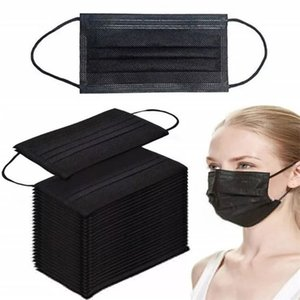 50pc Black Face Mouth Protective Mask Disposable 3 Layers Filter Earloop Non Woven Mouth Masks In Stock