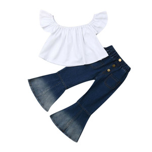 Emmababy 2020 Summer Fashion Toddler Girls Clothes Fly Sleeve Crop White Tops+ Flare Jeans Denim Bottoms Outfits Set