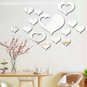 Wall Stickers amore sul muro 3D Specchio Floral Art Wall Sticker murale acrilica rimovibile decorazione della stanza della decorazione della casa DHL WX9-1877