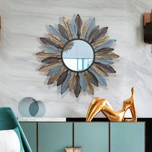 Creativo Moderno Europeo sala de estar colgante de pared espejo decorativo sol espejo porche colgante de pared decoración de la pared marco Decoración Del Hogar