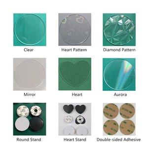 UV de impresión de bricolaje kits de acrílico blanco plaquitas de doble cara del teléfono celular adhesivo que puede expandirse Airbag soporte de stent Soporte Ring Finger Grip Holder