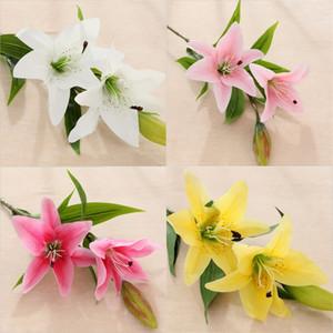 Künstliche Lilien Real Touch Lily frische Art-Schreibtisch Ornamente Artificial Startseite dekorative Blumen DIY Hochzeit Blüte