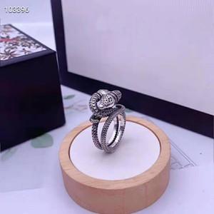 Homens e mulheres S925 pura prata clássico de enegrecida tailandês prata flores e pássaros em forma de coração e anel cobra anel de jóias de moda