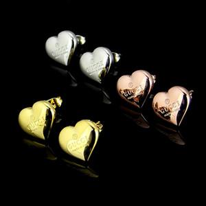 Alta Qualidade europeu EUA Moda inoxidável 316L ouro 18k de aço subiu 3D de prata brincos coração do parafuso prisioneiro para mulheres meninas adoram jóias