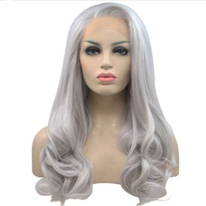 Free Shipping Silver Gray Long Body Wave Synthetic Lace Front Wig Baby Hair Gluelesss Heat Resistant Natural Hairline Wigs for White Women