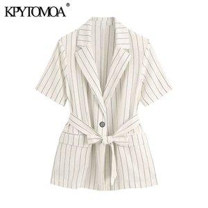 KPYTOMOA Women 2020 Fashion Single Button Striped With Belt Blazers Coat Vintage Short Sleeve Pockets Female Outerwear Chic Tops