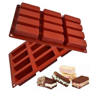 Atacado 1 PCS 12 Cavidade Retângulo Padrão Silicone Bolo De Chocolate Moldes Handmade Geléia Pudim De Cubo De Gelo (Cor Aleatória)