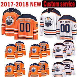 Custom HOT SALE New Edmonton Oilers men Milan Lucic 29 Draisaitl Edmonton Jersey 18 Ryan Strome 8 Ty Rattie 19 Patrick Maroon Hockey Jerseys