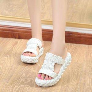 Pantofole Donne 2020 Estate New Student cunei morbida piattaforma pantofole Knit signore Sandali piatti Sandali Mujer