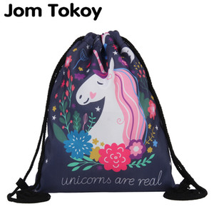 Luggage & Bags Jom Tokoy Fashion Drawstring Bag 3D Printing Unicorn Mochila Feminina Drawstring Backpack Women daily Casual Girl's knapsack