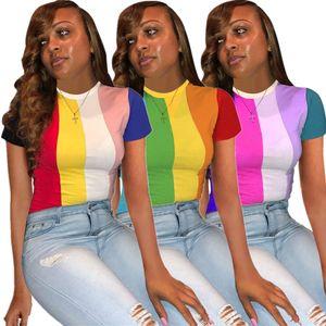 Estate nuove donne magliette stampate a colori a righe manica corta magliette da donna magliette da donna Streetwear S-XXL donne magliette da donna T-Sh