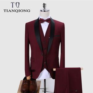 Erkekler Şal Yaka 3 adet Slim Fit Burgonya Suit Erkek Royal Blue Tuxedo Ceket QT977 için Marka Erkek Takım Elbise Düğün Suit