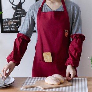 수 놓은 앞치마 키친 평상복 커피 숍 요리사 성인 크리 에이 티브 요리 허리 홈 여성 앞치마
