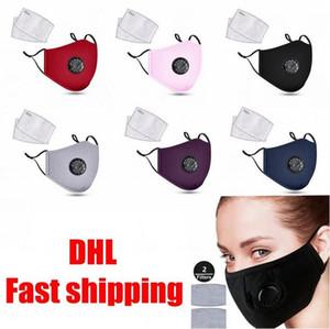 DHL FAST SHIPPING! Mode unisexe coton Masques visage avec Souffle PM2,5 Valve bouche Masque anti-poussière masque de tissu réutilisable avec 2 filtres à l'intérieur