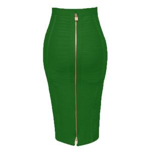 Artı Beden XL XXL Kadınlar Yaz Moda Seksi Fermuar Neon Yeşili Bandaj Etek 2019 Kalem Etek Şeker Renk Gece Kulübü Etekler Kadınlar Y200326