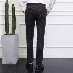 gray mens stripe pants size 28-40 men pant Fashion casual mens trousers 2019