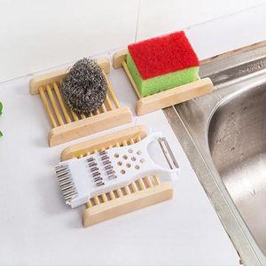 SAVON Bambou Bois Boisé Soupe Vaisselle creux plats à contrôle de l'eau Savon Novel Salle de bains Accessoires WY353Q