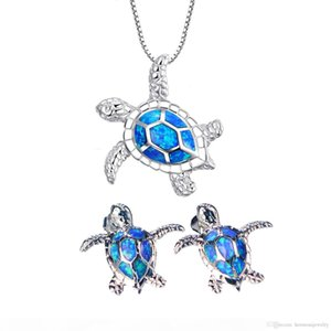 925 Sterling Silver Natural Blue Australian Opal Sea Turtle Brincos Colar Conjuntos De Jóias Para Mulheres Presentes De Natal