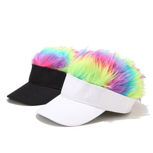New Men And Women Sun Visor Multicolour Wig Peaked Cap Baseball Cap Head Scarf Wrap Cap White And Black Unisex 2020 Hats