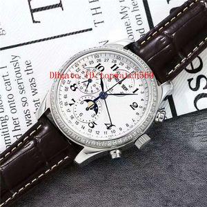New Diamond Master Collection Mens Watch Suíço 7751 cronógrafo automático 28800 vph calendário anual fase da Lua Sapphire CNC 316L Aço