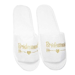Multipurpose Disposable Soft Hot Stamping Easy Matching Universal Spa Portable Party Hotel Travel Slippers Breathable White