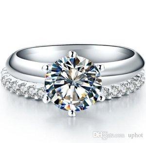Gioielli UphotClassic nuziale 2.55ct Set Total Engagement SONA sintetico Diamond Ring Set Sterling Silver dell'oro bianco 18K Banda Anelli Set