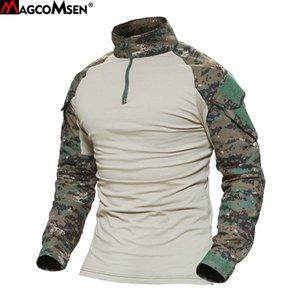 MAGCOMSEN Man Multicam T-shirt da camuflagem do exército de combate tático Camiseta Militar Homens manga comprida T-shirt Airsoft caça t-shirts Y200611