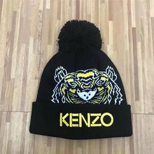 Neueste 200 Design Tierkarikaturstickerei Winter Schwarz weiß Beanies Hut unisex warm warm Käppchen Marke Beanies für Frauen gestrickt