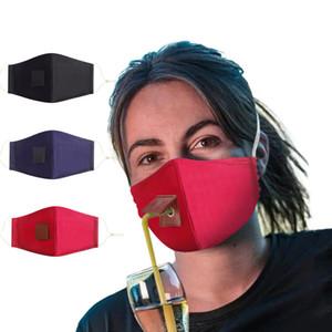 Adultos Niños algodón de la cara Máscara Máscara de bebida con el agujero para paja reutilizable lavable a prueba de polvo de la máscara al aire libre de la boca de la cubierta Máscaras Máscaras de diseño