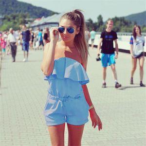 Casual Ruffles Strapless Waist Tightening Rompers Womens dress 2017 Summer Women Candy Color Summer Women Clothing